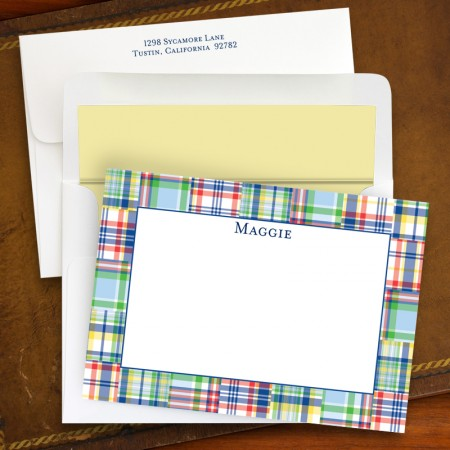 Madras Patch Blue Correspondence Cards