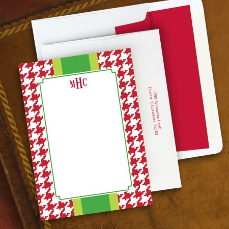 Alex Houndstooth Red Correspondence Cards