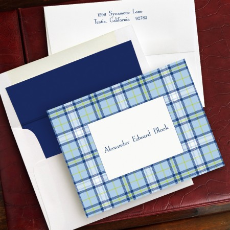 Blue Plaid Fold Notes