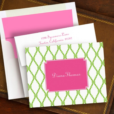 Bamboo Green & Raspberry Fold Notes