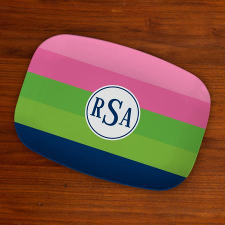 Boatman Geller Designer Platter - Bold Stripe Pink, Green & Navy