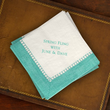 Caspari® Aqua Bordered Cocktail Napkins