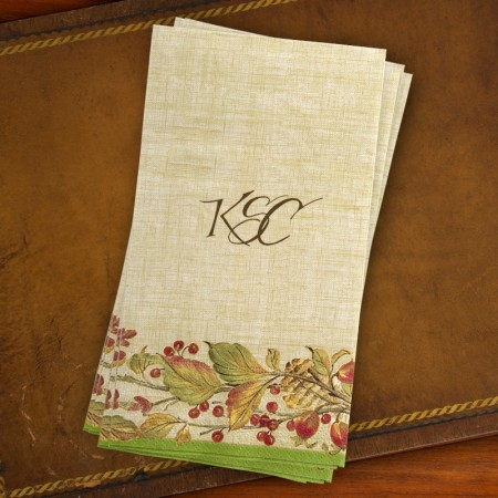 Caspari® Autumn Leaves Guest Towels - with Monogram