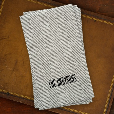 Caspari® Charcoal Herringbone Guest Towels