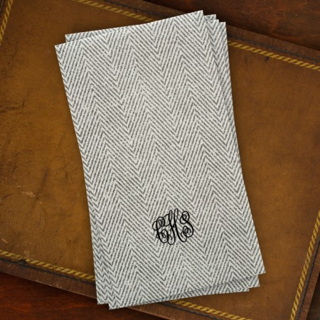 Caspari® Charcoal Herringbone Guest Towels with Monogram
