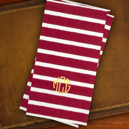 Caspari® Red Stripe Guest Towels
