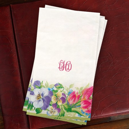 Caspari® Spring Garland Guest Towels with Monogram