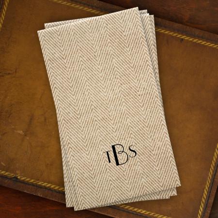 Caspari® Tan Herringbone Guest Towels with Monogram