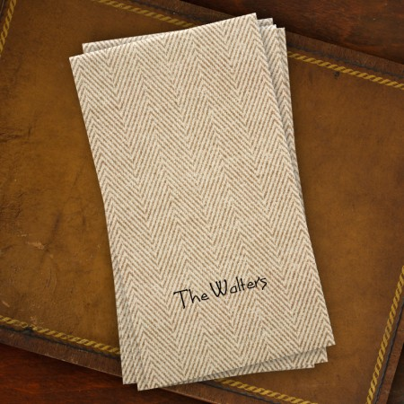 Caspari® Tan Herringbone Guest Towels