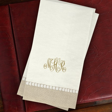 Caspari® Taupe Bordered Guest Towels - with Monogram
