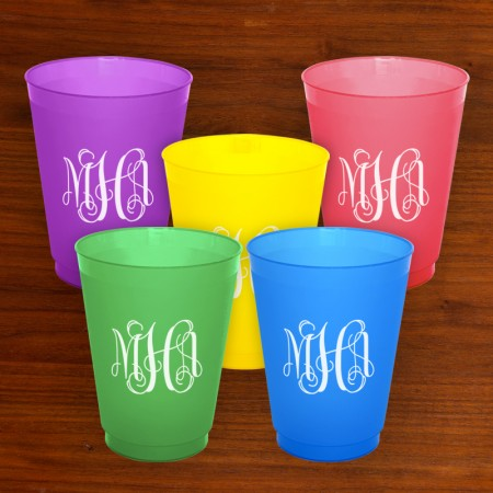 Colorful Designer Party Tumblers with Monogram