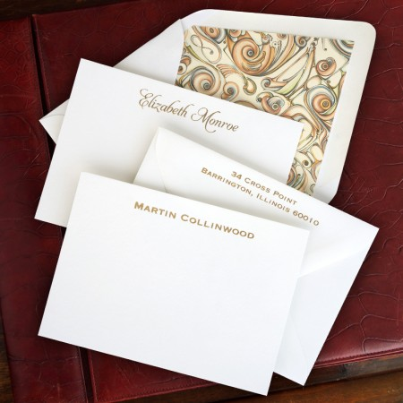 100% Cotton Foil Stamped Correspondence Cards