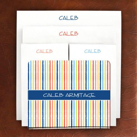 Designer Acrylic Holder & Memo Pad Set - 07-Beach Stripes