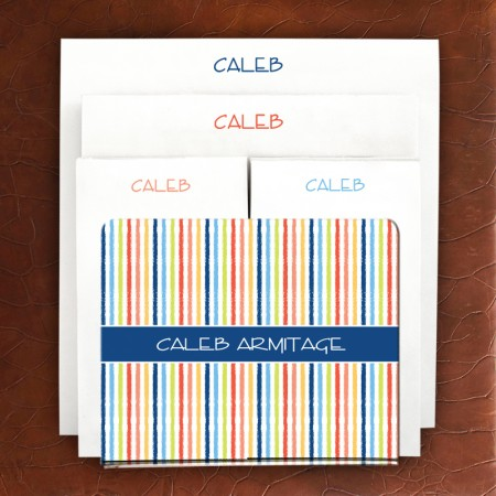 Designer Acrylic Holder & Memo Pad Set - Beach Stripes