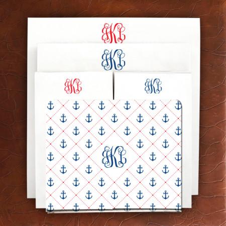 Designer Acrylic Holder & Memo Pad Set - 15-Stitched Anchors