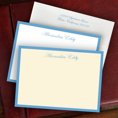French Blue Wide Hand Bordered Cards