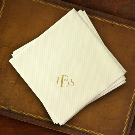 Ivory Foil Dinner Napkins - with Monogram