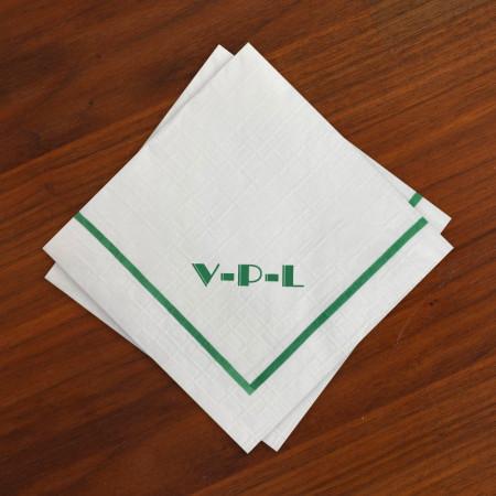Designer Textured Beverage Napkins - Single Green Border with Monogram