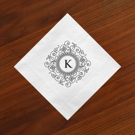 Letterpress Initial Beverage Napkin