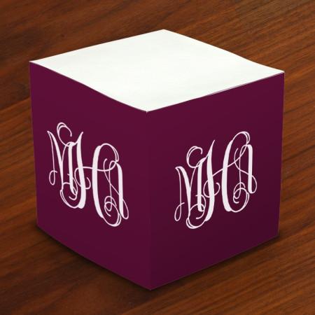 Designer Self-Stick Memo Cubes with Monogram
