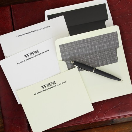 Striped Initials Correspondence Cards