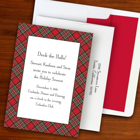 Plaid Red Holiday Invitation