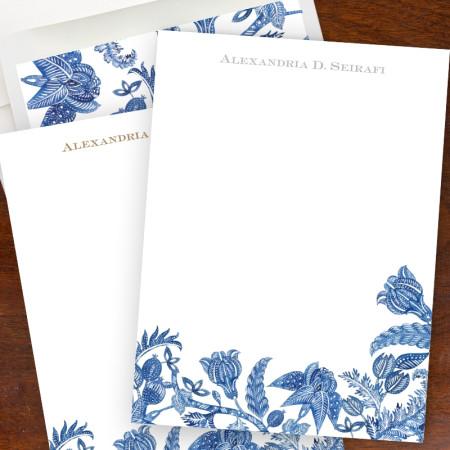 Blue Batik Stationery Sheets