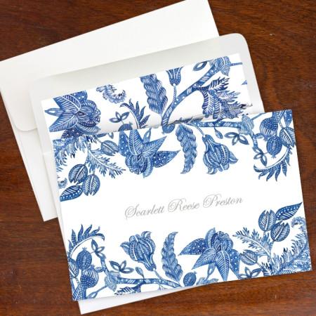 Blue Batik Stationery Fold Note