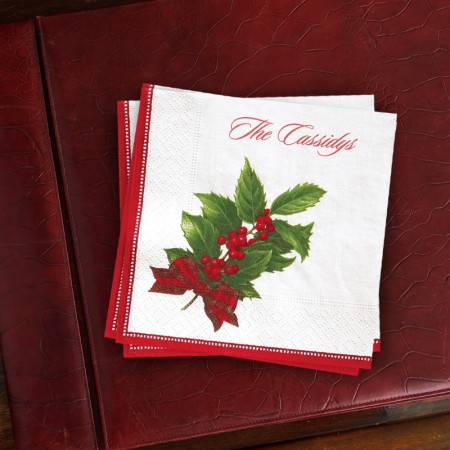 Caspari® Holly Christmas Cocktail Napkin