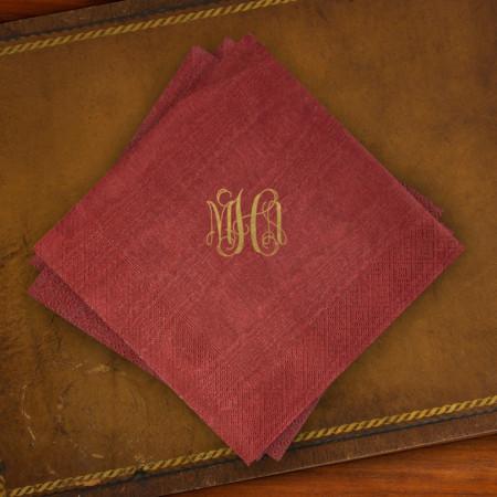 Caspari® Cranberry Moire Luncehon Napkins with Monogram
