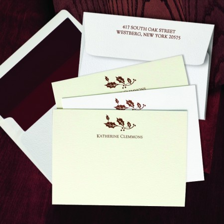Prentiss Letterpress Correspondence Cards - Holly