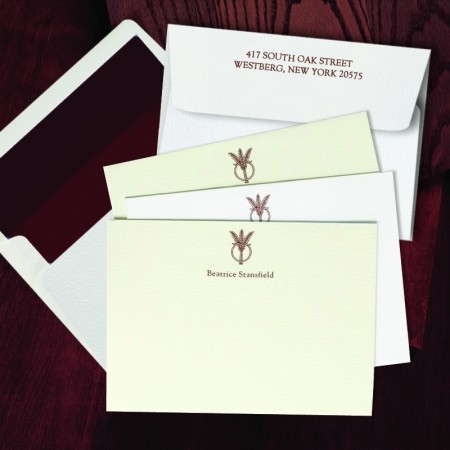 Prentiss Letterpress Correspondence Cards - Wheat Ring