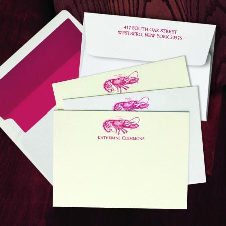 Prentiss Letterpress Correspondence Cards - Lobster