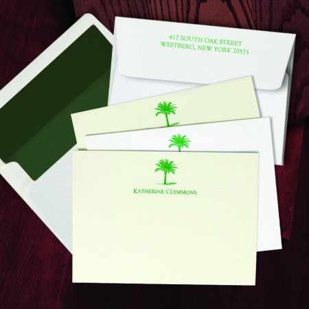 Prentiss Letterpress Correspondence Cards - Palm Tree