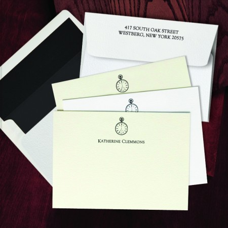 Prentiss Letterpress Correspondence Cards - Clock