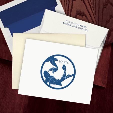 Prentiss Letterpress Fold Note -  Koi