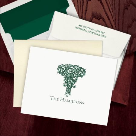 Prentiss Letterpress Fold Note -  Roses