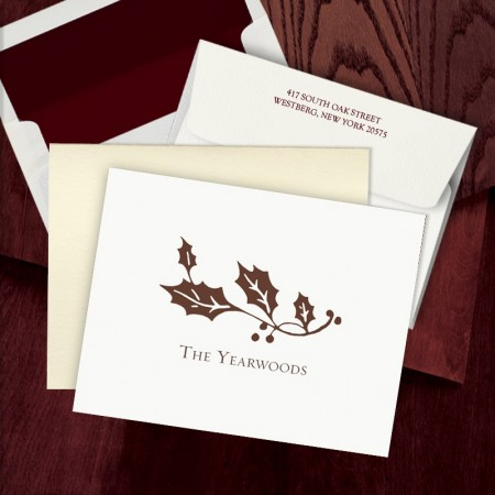 Prentiss Letterpress Fold Note -  Holly
