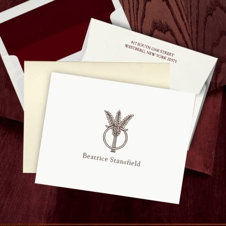 Prentiss Letterpress Fold Note -  Wheat Ring