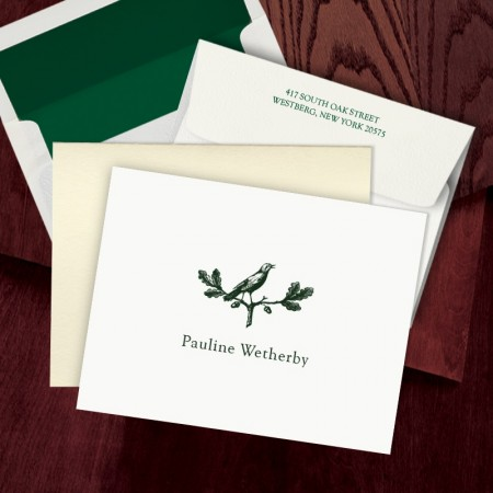Prentiss Letterpress Fold Note -  Bird