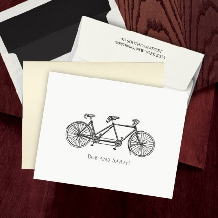 Prentiss Letterpress Fold Note -  Bike