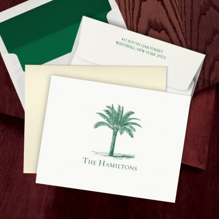 Prentiss Letterpress Fold Note -  Palm Tree