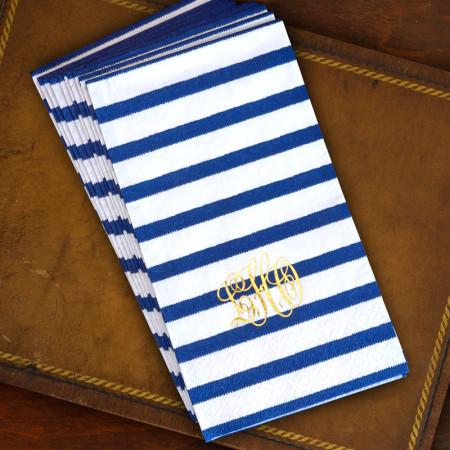 Bretagne Blue Caspari® Guest Towels - Monogram