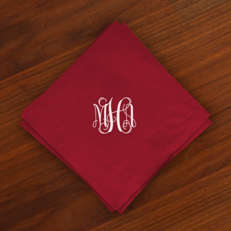 Caspari® Cranberry Cocktail Napkins with Monogram