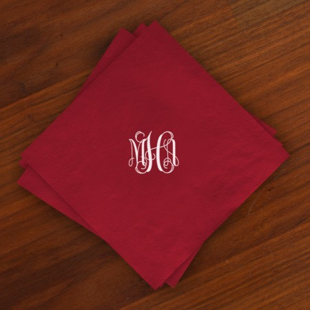 Caspari® Cranberry Moire Luncheon Napkins with Monogram