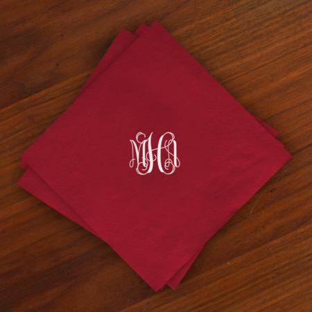 Caspari® Cranberry Moire Luncheon Napkins with Monogram