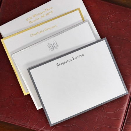 Wide Bordered Metallic Correspondence Cards