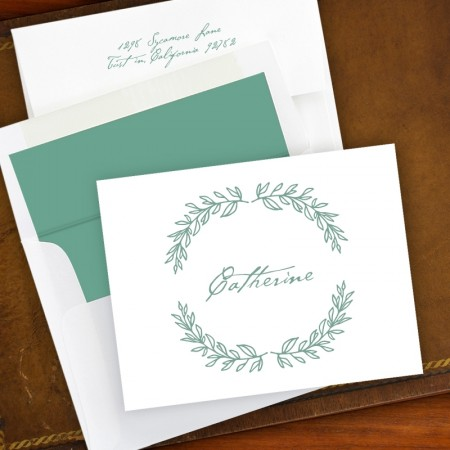 Laurel Wreath Fold Note - White