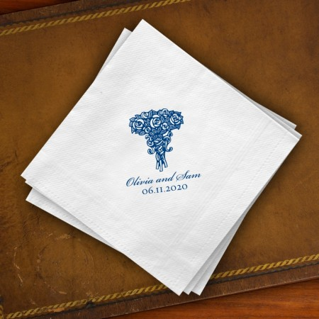 Prentiss Beverage Napkins - Roses Design