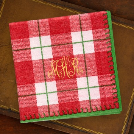 Red Plaid Cocktail Napkins Monogram
